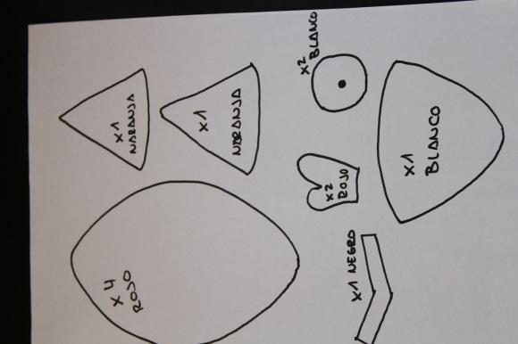 Imagen de un patrón para hacer un Angry Birds Rojo con fieltro