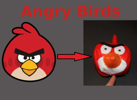 Angry Birds Rojo, de imagen de videojuego a peluche hecho con fieltro