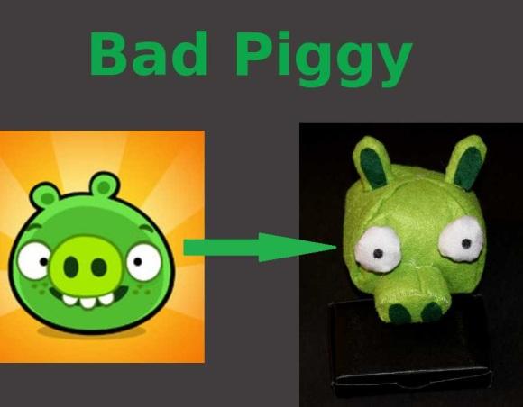 Angry Birds Bad Piggy - De imagen de videojuego a peluche hecho con fieltro