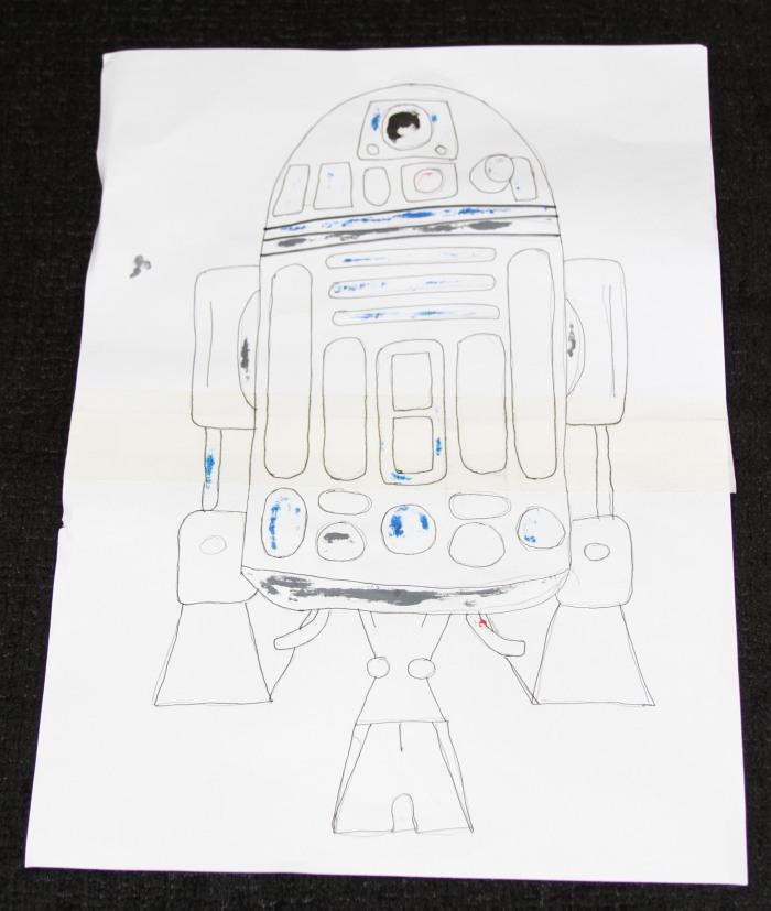 Diseño en papel R2D2, el androide protagonista de Star Wars