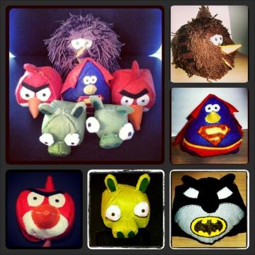 La familia de Angry Birds de Manetes Bones: Rojo, Bad Piggies, Chewbacca, Batman y Superman.