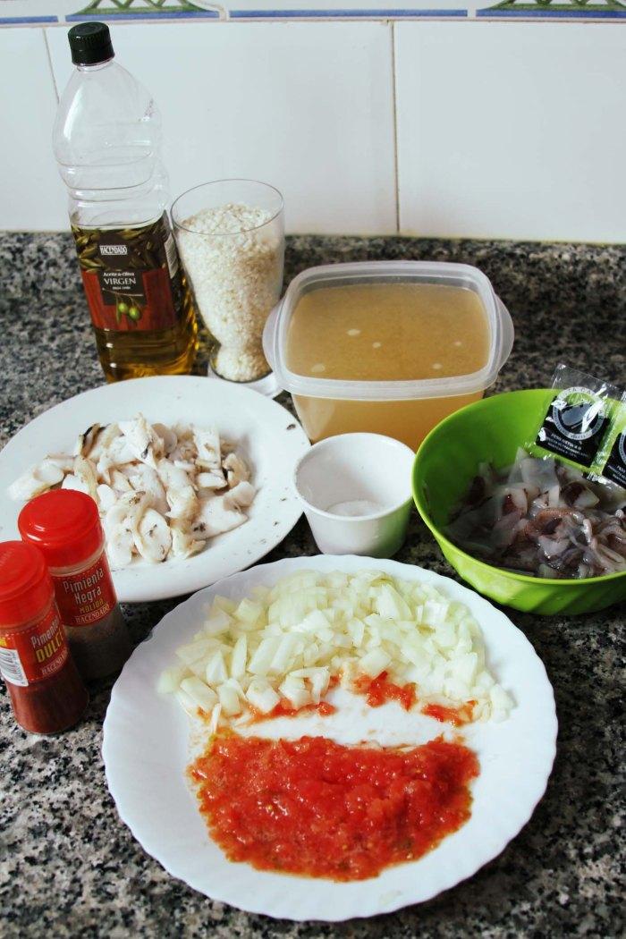 Ingredientes para preparar arroz negro