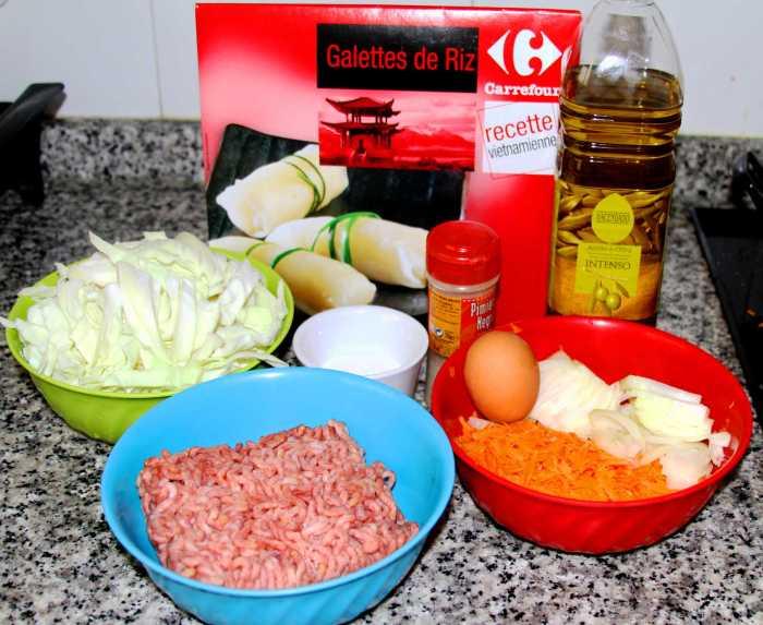 Ingredientes para preparar rollitos de primavera