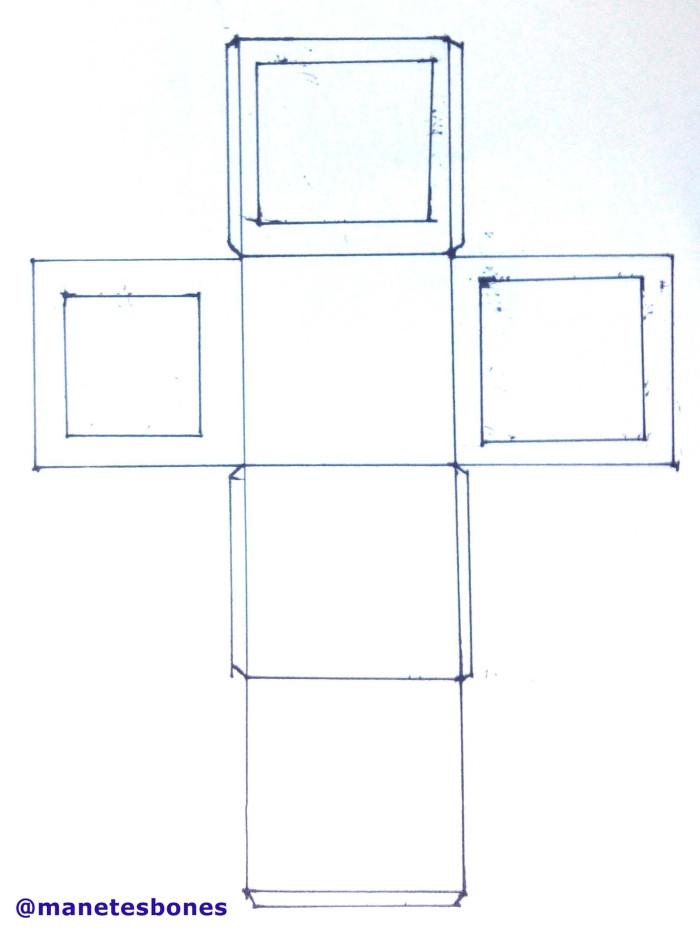 Patrón caja para regalos hecha con cartuilina con tapa