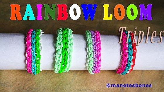 Pulsera rainbow loom triple