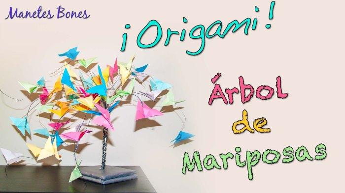 Árbol de mariposas de origami