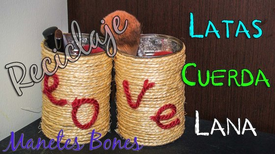 Reciclar latas con cuerda y lana