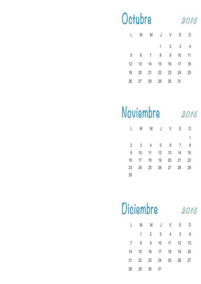 Calendario Mesa 2015